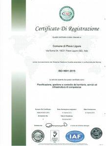 Certificato ISO 9001 edizione 2015